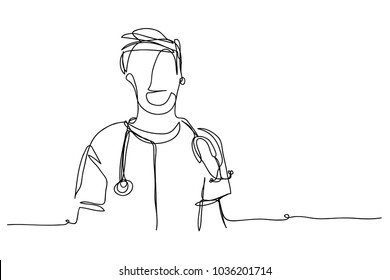 continuous line drawing of a male doctor vector illustration