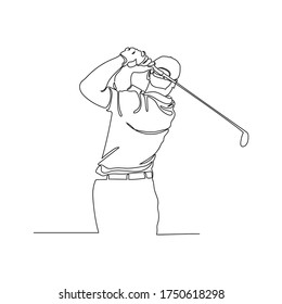 Continuous line drawing of male golfers playing golf. Male golf player on professional golf course isolated  with a white background