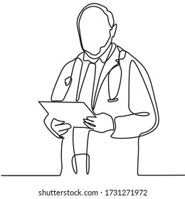continuous line drawing of man doctor standing isolated on a white background. Health care and medicine