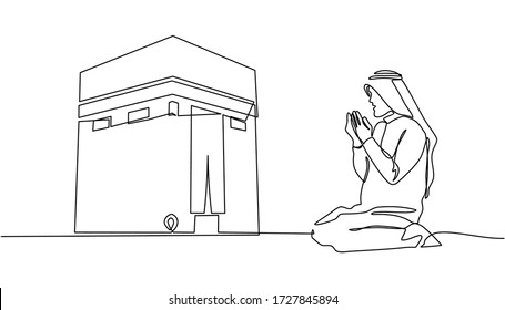 A continuous line drawing of a man facing the Ka'aba raised his hand in prayer. Muslim men pray for Allah and raise their hands facing the Kaaba isolated on white background.