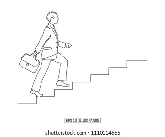 Continuous line drawing of man going up the stairs. Businessman career symbol. Template for your design. Vector illustration.