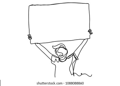 continuous line drawing of a man holding a protest sign vector illustration