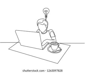 Continuous Line Drawing Someone Operating Computer Stock Vector