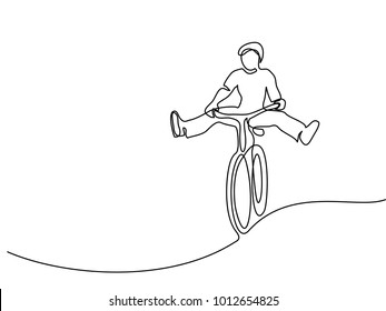 Continuous line drawing. Man on a bicycle have fun. Drawn by hand. Icon, vector illustration, picture, tattoo