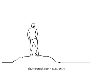 continuous line drawing of man on the mountain