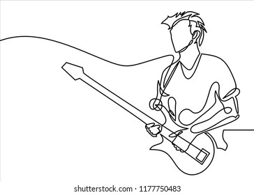 continuous line drawing of a man playing guitar musician vector illustration.