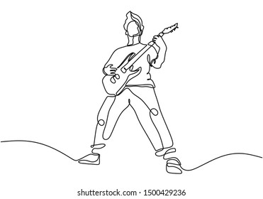 continuous line drawing of a man playing guitar. Man musician vector illustration.Single one hand drawn lineart minimalism.