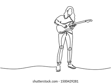 Continuous line drawing of man playing electric guitar vector illustration minimalism