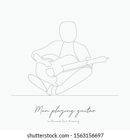 continuous line drawing. man playing guitar. simple vector illustration. man playing guitar concept hand drawing sketch line.