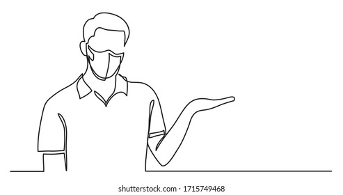 continuous line drawing of man in protective mask showing at copy space
