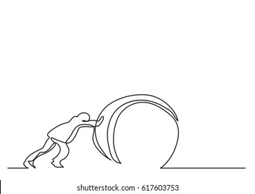 continuous line drawing of man pushing weight