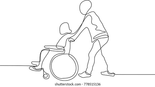 continuous line drawing of man pushing a wheelchair with a patient