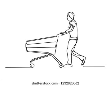 continuous line drawing man in salwar suit with shopping cart