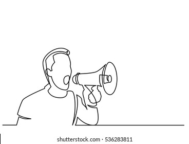 continuous line drawing of man screaming on megaphone