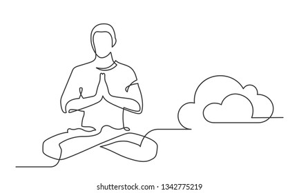 Continuous line drawing of man sitting in yoga pose near cloud. Pose Lotus. Vector illustration