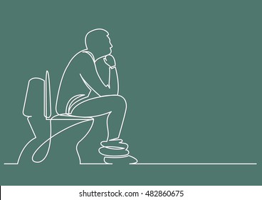 continuous line drawing of man sitting on toilet seat thinking