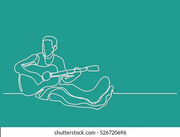 continuous line drawing of man sitting playing guitar