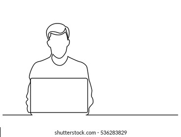 continuous line drawing of man sitting behind laptop computer