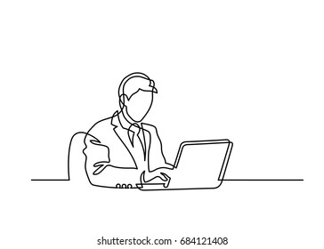 Continuous line drawing of man sitting behind laptop computer on white background. Vector illustration.