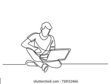 continuous line drawing of man sitting with laptop computer