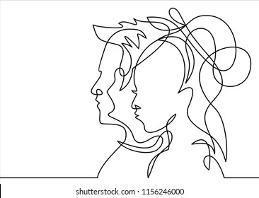Continuous line drawing. Man and Woman silhouettes in love . Vector illustration
