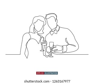 Continuous line drawing of man and woman with glasses of wine. Template for your design works. Vector illustration.