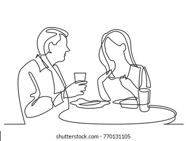 continuous line drawing of man and woman dining in restaurant