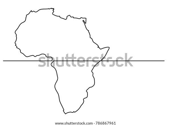 Map Of Africa Drawing.Continuous Line Drawing Map Africa Stock Vector Royalty Free 786867961