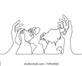 Continuous line drawing. Map of the Earth in human hands. Vector illustration