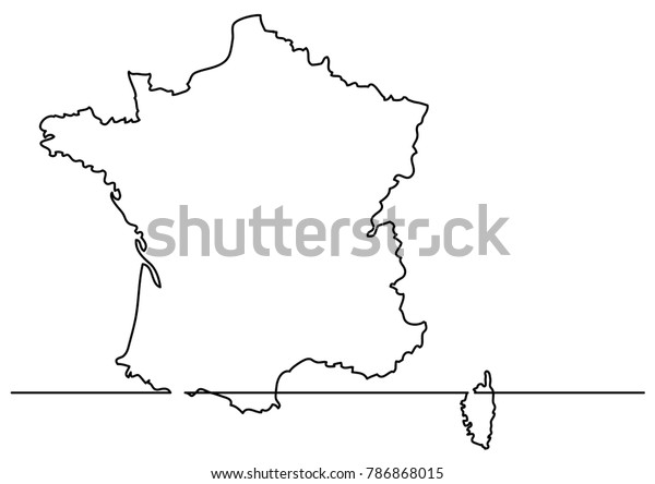 Map Of France Drawing.Continuous Line Drawing Map France Stock Vector Royalty Free 786868015