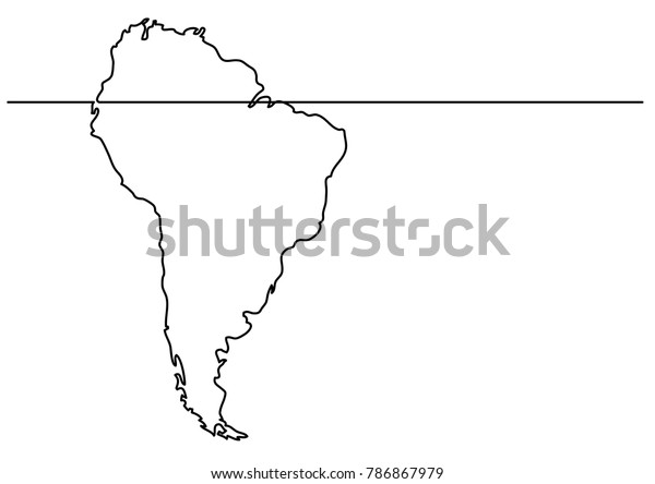Map Of America Drawing.Continuous Line Drawing Map South America Stock Vector Royalty Free