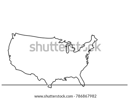 Us Map Line Drawing.Continuous Line Drawing Map United States Stock Vector Royalty Free