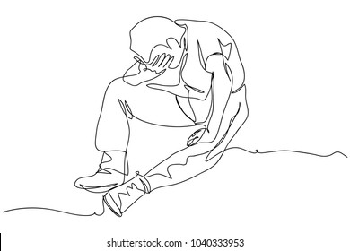 continuous line drawing of men being disappointed vector illustration