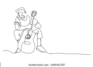 continuous line drawing of men playing guitar music illustrator