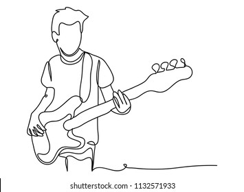 continuous line drawing of men playing guitar concert concept entertaining music vector illustration