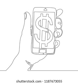 Continuous line drawing mobile phone with dollar symbols on screens vector illustration e-commerce Concept