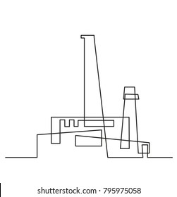 Continuous line drawing. Modern building construction. Modern industry. Factory in a flat style. Vector illustration