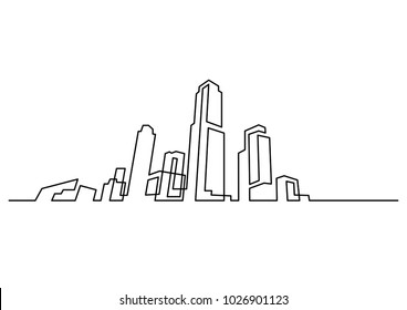 continuous line drawing of modern city skyline