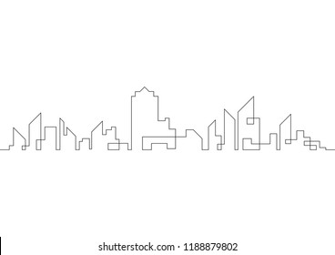Continuous line drawing of modern city. Vector illustration