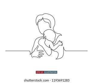 Continuous line drawing of mother and child. Abstract mom and baby silhouette. Template for your design. Vector illustration.