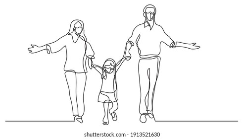 continuous line drawing of mother father and child wearing face masks