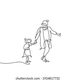 Continuous line drawing of mother and her daughter walking around. Trendy character minimalist design. One line drawing of mother and daughter walking together isolated on white background.