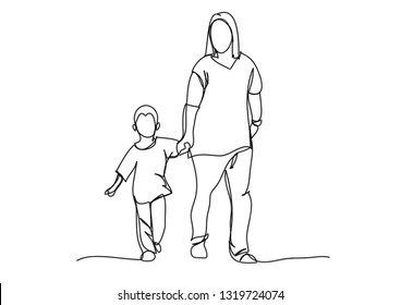 Continuous line drawing of the mother walked with her son.
