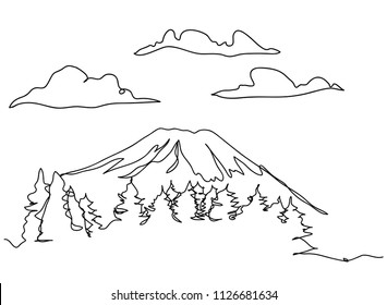 continuous line drawing of Mount Fuji, Japan Travel Vector Illustration