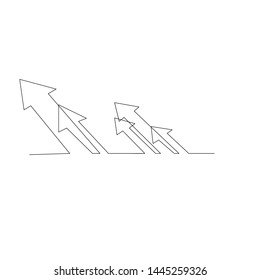 continuous line drawing of multiple arrows. isolated sketch drawing of multiple arrows line concept. outline thin stroke vector illustration