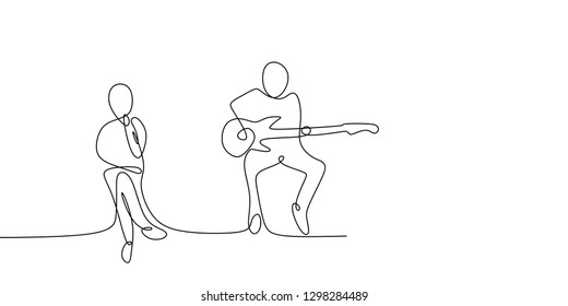 continuous line drawing of musical concert with a man playing electric guitar and sing a song