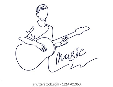 continuous line drawing of musician plays acoustic guitar vector illustration isolated on white. Musical concept for decoration, design, invitation jazz festival, music shop.