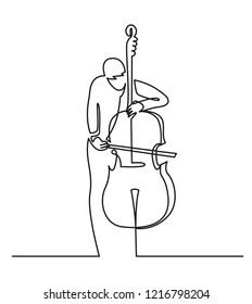 Continuous line drawing of musician plays double bass vector illustration isolated on white. Musical concept contrabass for decoration, design, invitation jazz festival, music shop.