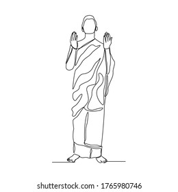 Continuous line drawing of muslim man praying in hajj ihram uniform. One line art concept of islamic. Vector illustration