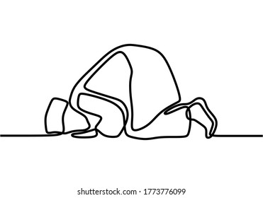 Continuous line drawing muslim prayer doing sujud or sajdah with minimalist design isolated in one white background